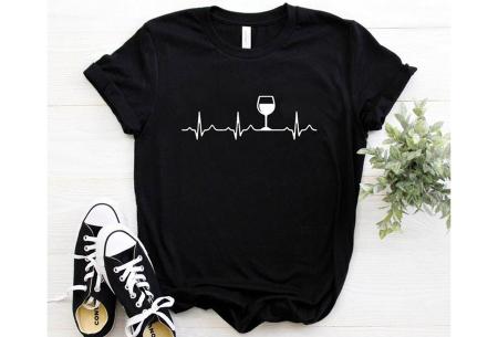Dames T-shirt met koffie- of wijnopdruk | Hilarisch shirt voor koffie- of wijnliefhebbers Wijn - zwart