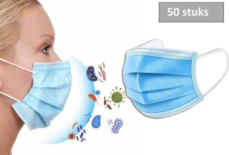 Mega deal 50 stuks mondkapjes   Niet-medische 3-laags mondkapjes met non-woven filtermateriaal