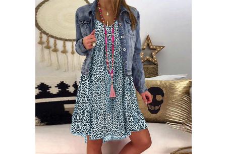 Panterprint jurk met lange mouwen | Luchtige musthave in 4 kleuren! Blauw
