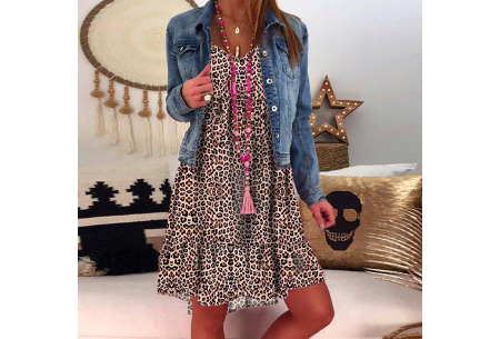 Panterprint jurk met lange mouwen | Luchtige musthave in 4 kleuren! Bruin