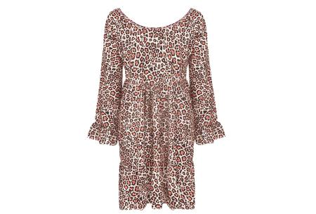 Panterprint jurk met lange mouwen | Luchtige musthave in 4 kleuren!