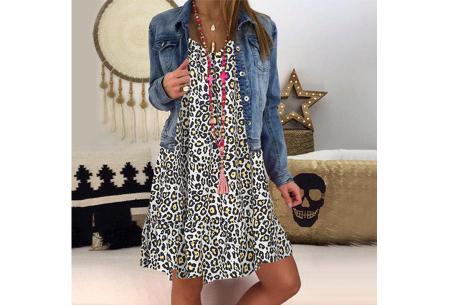 Panterprint jurk met lange mouwen | Luchtige musthave in 4 kleuren! Geel
