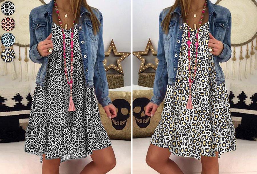 Panterprint jurk met lange mouwen in de sale