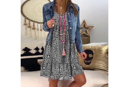 Panterprint jurk met lange mouwen | Luchtige musthave in 4 kleuren! Zwart