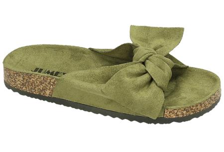 Suède look dames slippers | Met brede strik - in 8 trendy kleuren!  Olijfgroen