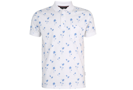 Pierre Cardin polo's | Trendy herenpolo's met zomerse palmbomen Wit