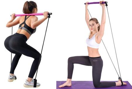 Weerstandsband met stang | Eenvoudig thuis sporten - Train je gehele lichaam!