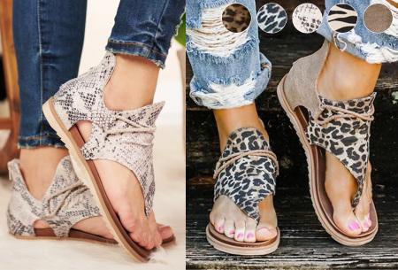 Jane sandalen voor dames | Trendy slippers met dierenprint