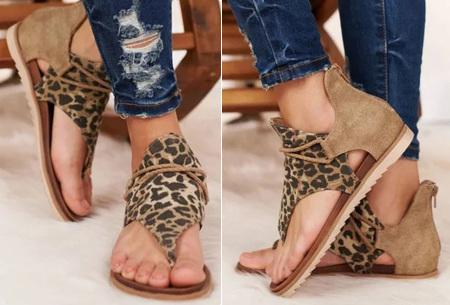 Jane sandalen voor dames | Trendy slippers met dierenprint A