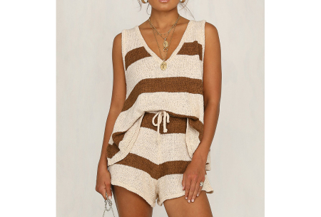 Dames kledingset | Zomerse two piece - in 3 kleuren! Bruin gestreept