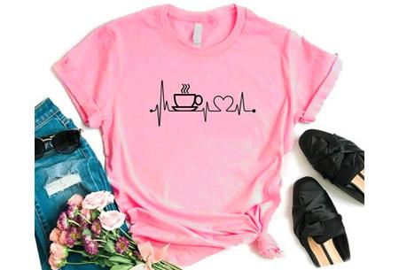 Dames T-shirt met koffie- of wijnopdruk | Hilarisch shirt voor koffie- of wijnliefhebbers Koffie - roze