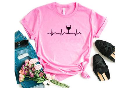 Dames T-shirt met koffie- of wijnopdruk | Hilarisch shirt voor koffie- of wijnliefhebbers Wijn - roze