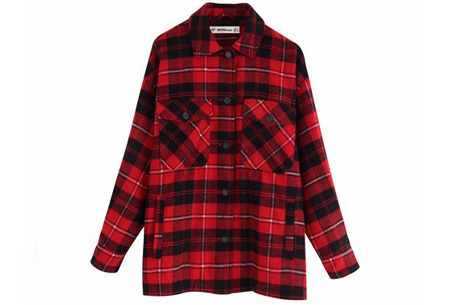 Geruite jas voor dames   Dé tussenjas van dit moment!  Rood #2