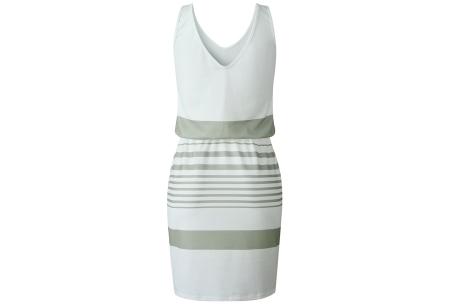 Gestreepte jurk | Hippe zomerjurk met V-hals, lage rug en taillekoord