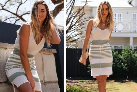 Gestreepte jurk | Hippe zomerjurk met V-hals, lage rug en taillekoord Grijs