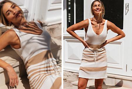 Gestreepte jurk | Hippe zomerjurk met V-hals, lage rug en taillekoord Roze