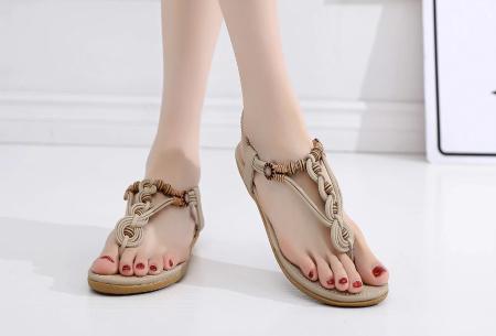 Dames sandalen | Met comfortabel voetbed - In 3 modellen A - beige