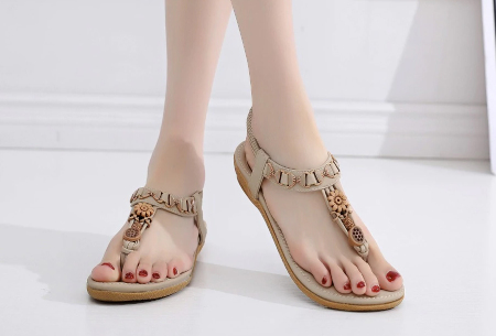 Dames sandalen | Met comfortabel voetbed - In 3 modellen C - beige