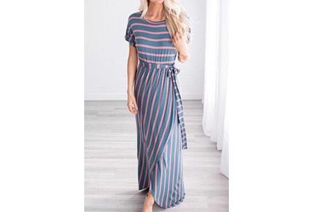 Lange dames jurk met ronde hals - Maat XS - Blauw