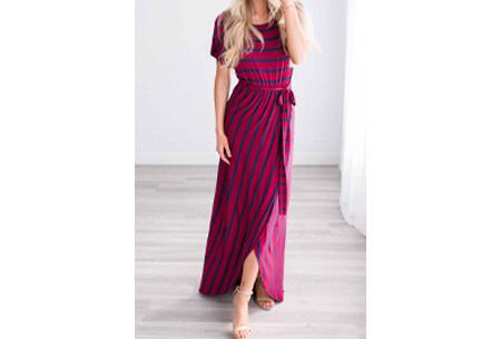 Gestreepte maxi jurk | Enkellange jurk in 4 kleuren! Rood