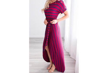 Gestreepte maxi jurk | Enkellange jurk in 4 kleuren!