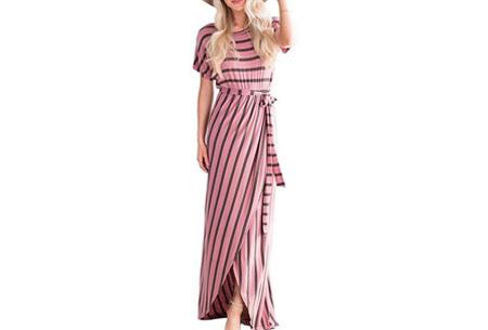 Lange dames jurk met ronde hals - Maat XS - Roze