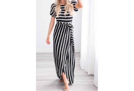Gestreepte maxi jurk | Enkellange jurk in 4 kleuren! Zwart