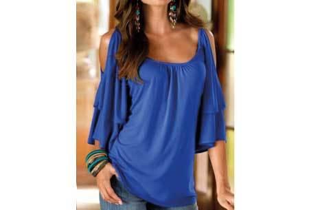 Butterfly sleeve shirt | Ruffle top met open schouders Donkerblauw