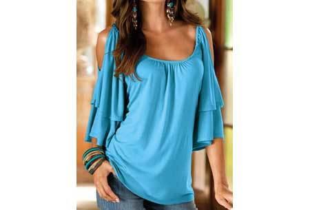 Butterfly sleeve shirt | Ruffle top met open schouders Lichtblauw