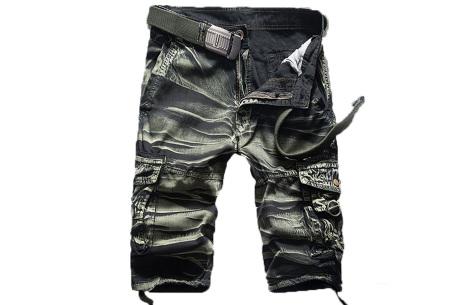 Korte broek voor heren | Stoere cargo broek in 8 kleuren Camo groen