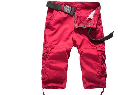 Korte broek voor heren | Stoere cargo broek in 8 kleuren Rood