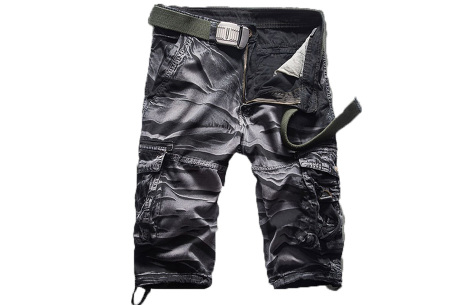 Korte broek voor heren | Stoere cargo broek in 8 kleuren Zwart B
