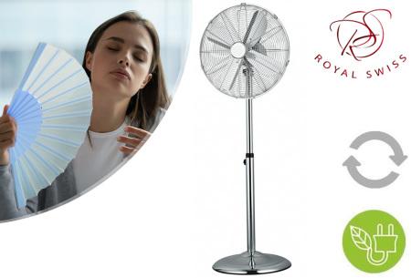 Staande ventilator van Royal Swiss | In hoogte verstelbaar en met 3 snelheden