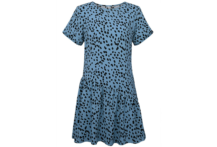 T-shirt jurk met panterprint Maat M - Blauw