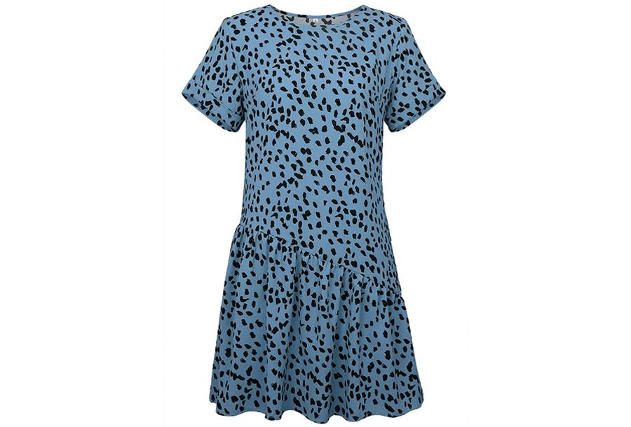 T-shirt jurk met panterprint Maat XL - Blauw