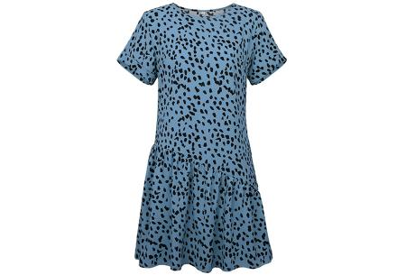 T-shirt jurk met panterprint   Trendy & luchtige zomerjurk! Blauw