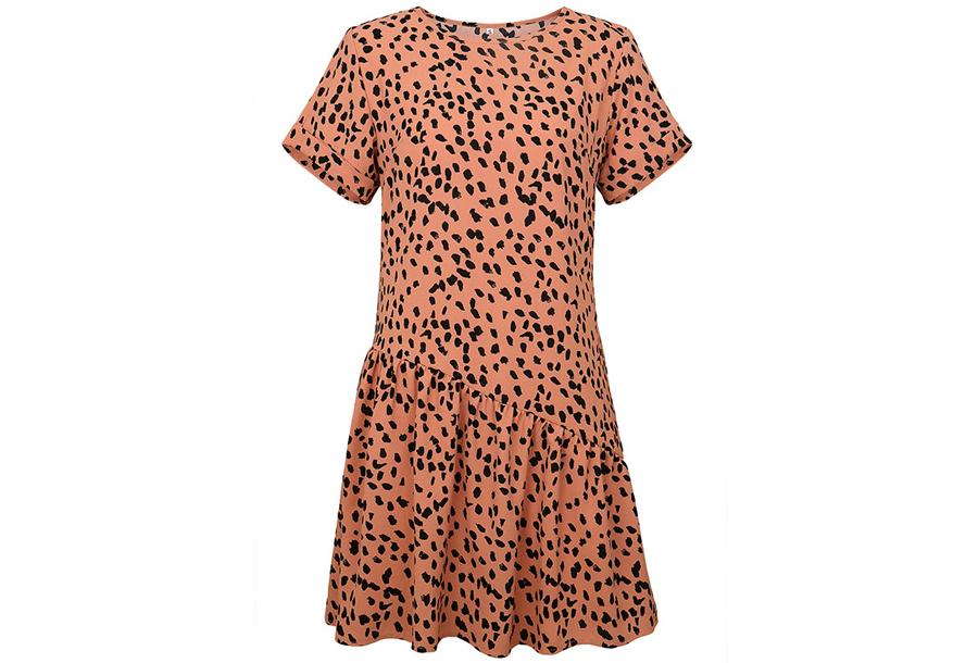 T-shirt jurk met panterprint Maat M - Roze