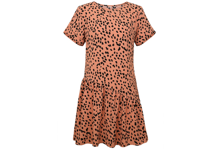T-shirt jurk met panterprint   Trendy & luchtige zomerjurk! Roze