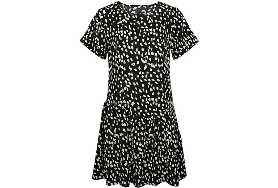 T-shirt jurk met panterprint Maat XL - Zwart