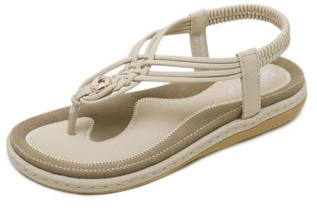 Stijlvolle teenslippers | Comfortabele slippers met handig hielbandje Beige