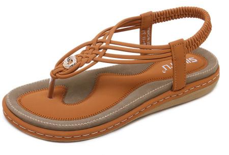 Stijlvolle teenslippers | Comfortabele slippers met handig hielbandje Bruin