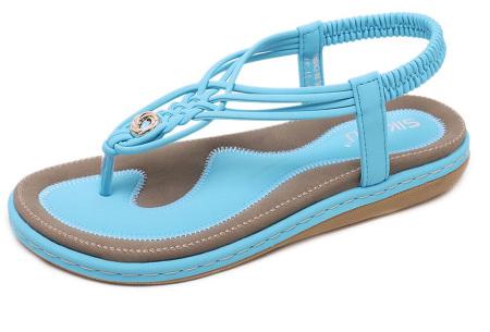 Stijlvolle teenslippers | Comfortabele slippers met handig hielbandje Lichtblauw