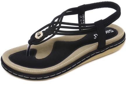 Stijlvolle teenslippers | Comfortabele slippers met handig hielbandje Zwart