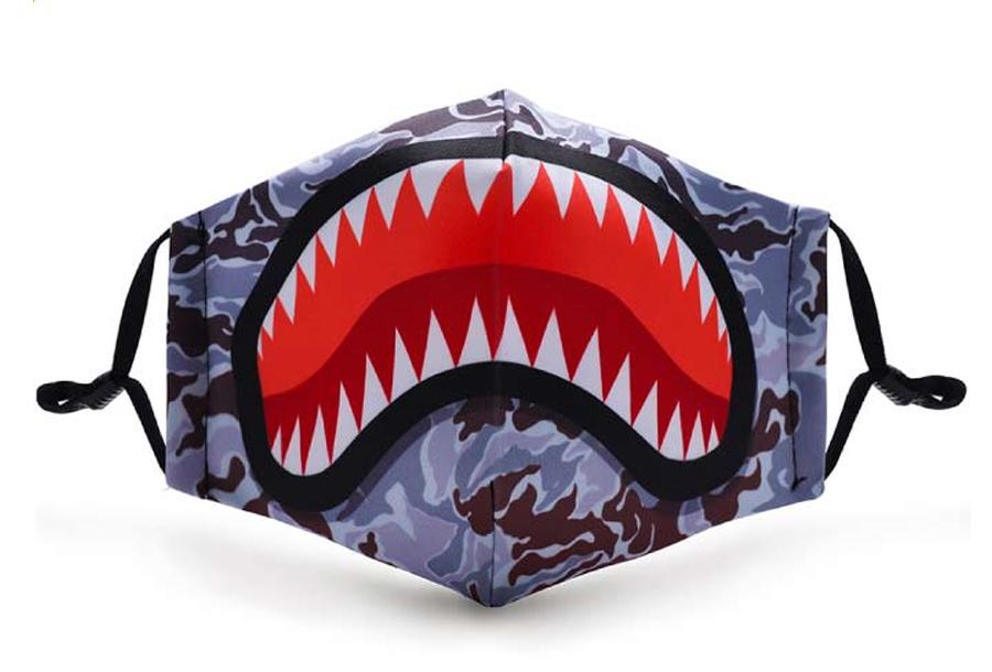 Wasbare mondkapjes en PM2.5 filters Mondkapje kinderen - Haai + 11 PM2.5 filters