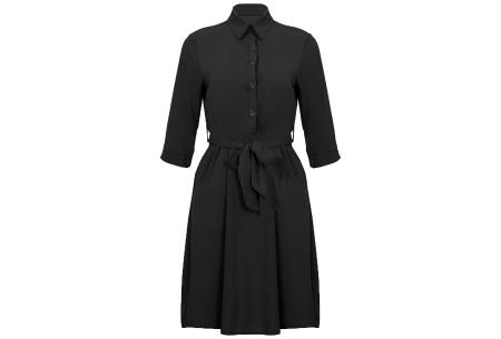 Basic blousejurk | Elegante midi jurk voor dames Zwart