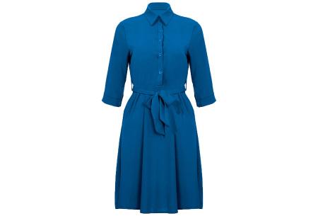 Basic blousejurk | Elegante midi jurk voor dames Blauw