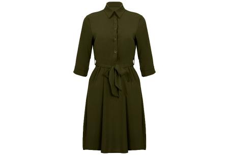 Basic blousejurk | Elegante midi jurk voor dames Groen