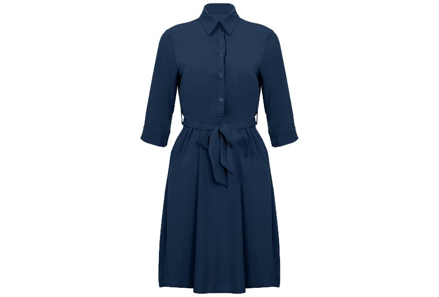 Basic blousejurk Maat L - Donkerblauw