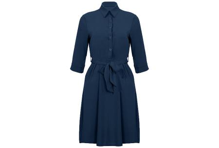 Basic blousejurk | Elegante midi jurk voor dames Donkerblauw