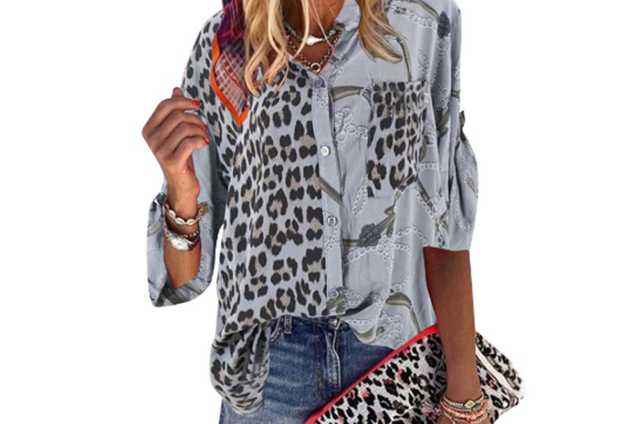 Panterprint blouse - Grijs - Maat M